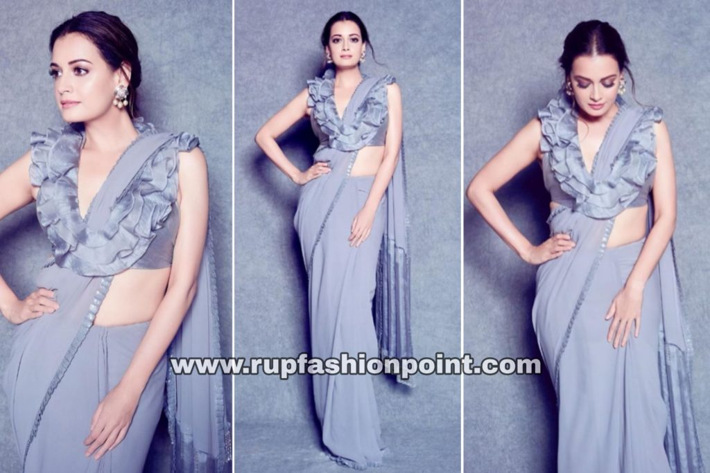 Dazzling Dia Mirza in Steel Grey Saree