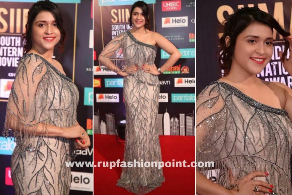 Mannara Chopra in a Shimmering Gown