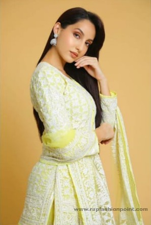 Nora Fatehi In Lemon Yellow Indian Outfit