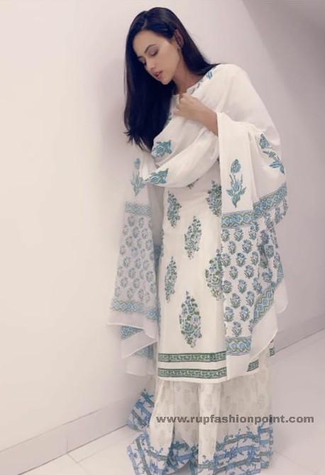 Sana Khan In White Indian Wear