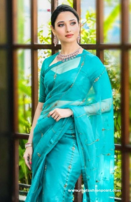 Tamannaah Bhatia In A Stunning Teal Blue Saree