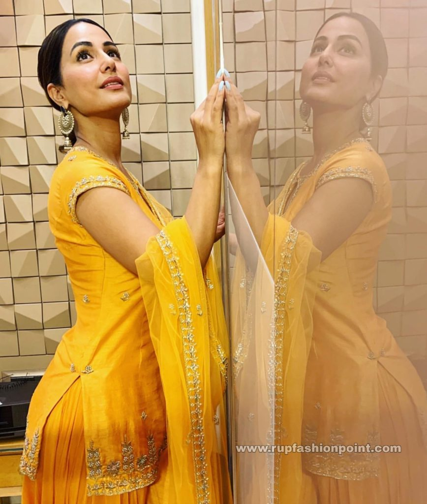 Cute Hina Khan in Bright Yellow
