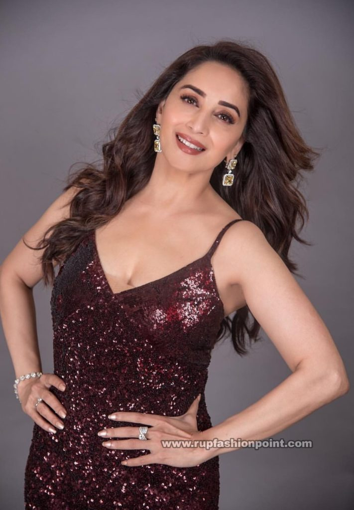 Madhuri Dixit in an Amazing Wine Coloured Blong Dress