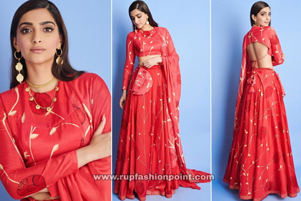 Sonam K Ahuja in Hand Painted Red Lehenga
